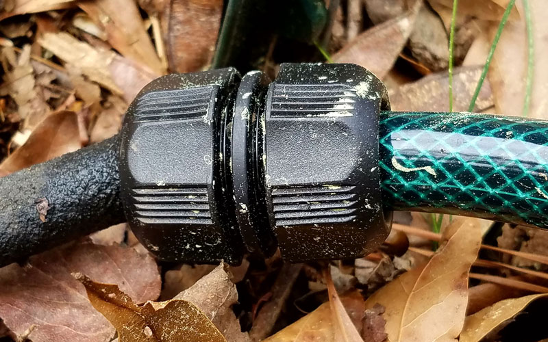 Snip-n-drip soaker hose connected to garden hose