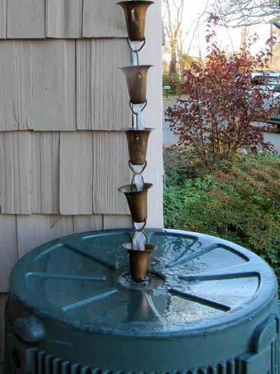 rain chain and rain barrel