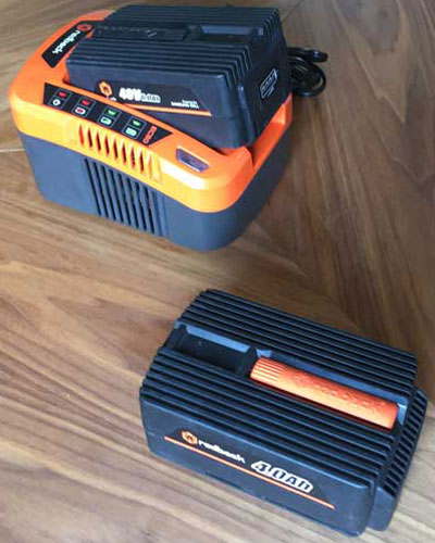 Redback 40V Lithium Ion Cordless String Trimmer Batteries and Charger