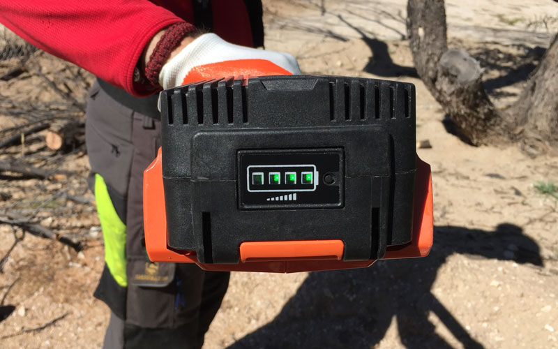 Redback Chainsaw Pole Pruner battery indicator