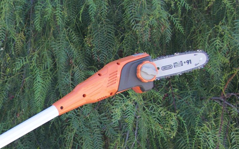 Redback chainsaw pole pruner tilted head