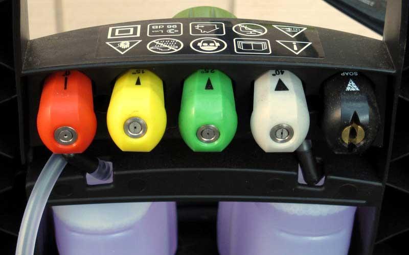 Nozzles on Sun Joe electric pressure washer