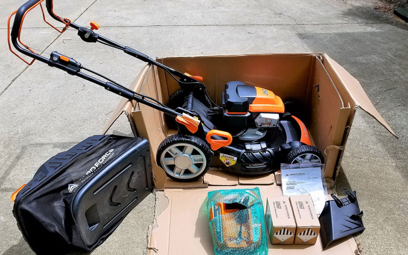 Yard Force 120V Cordless Mower cut box to open
