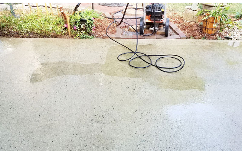 Heavily-stained concrete takes a little more time to clean, but the 0 degree nozzle works wonders