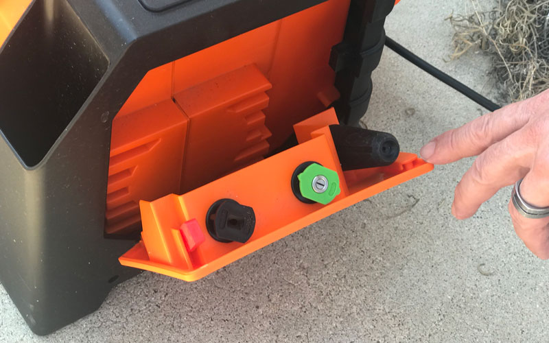 Yard Force Pressure Washer side compartment