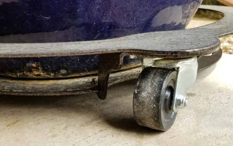 wheel and rim of a heavy duty plant caddy