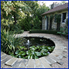 pond feature set in patio