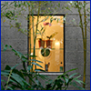 A window lit from within framed by delicate bamboo and fern