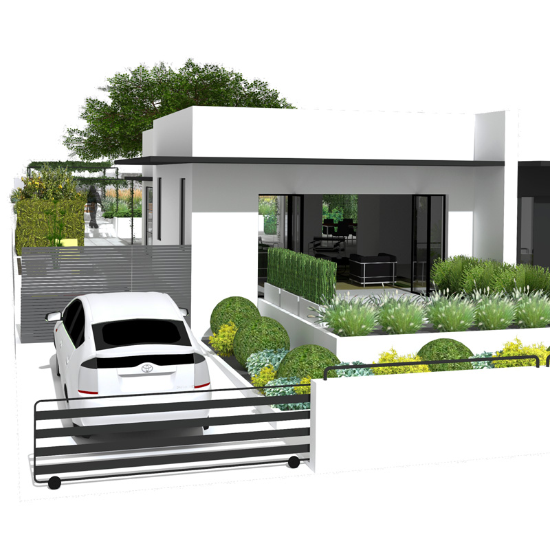 3D architectural photorealistic rendering showing modernist front yard with Bauhaus style villa, fence, with a car, grasses, shrubs, and trees.