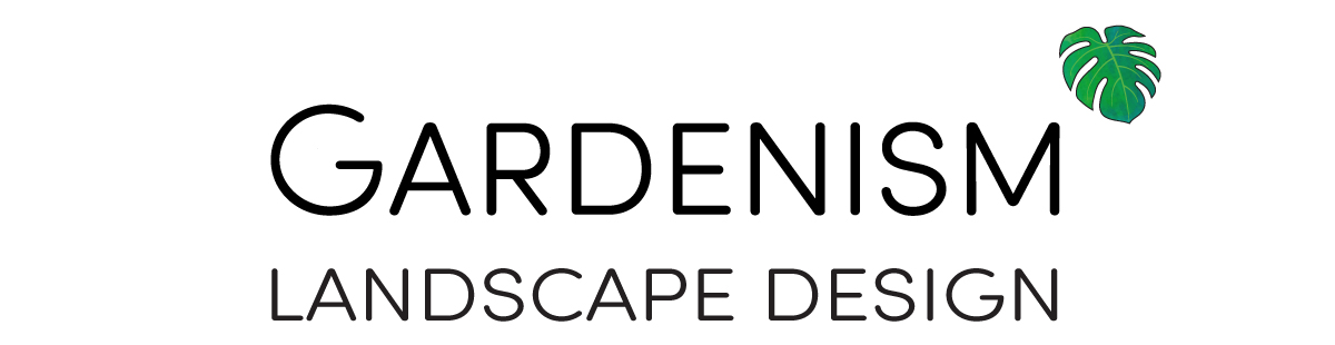 Logo for Gardenism - Landscape Design with Monstera deliciosa leaf