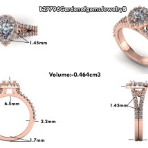 Ring design scaled to fit customer's diamond with added personalization.
