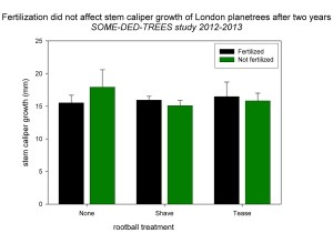 Fig. 1 Two-year mean stem caliper growth of London planetrees subjected to root-ball treatments and fertilization.
