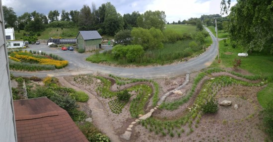 Looking down on the stream garden from the second floor. Island Bed to the left. Mary Vaananen photo.