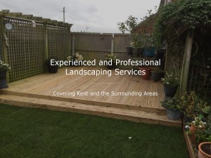 A photo of a newly installed decking area with text overlay