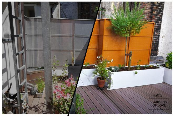 Private Dachterrasse in Innenhof vor & nach der Aufwertung