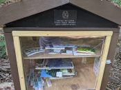 An outdoor library was installed as an Eagle Scout project by Griffin Lewis, Troop 38, Concord, N.C. Visitors can borrow nature-related books and materials here.