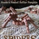 Creepy Reese's Pumpkin Spiders