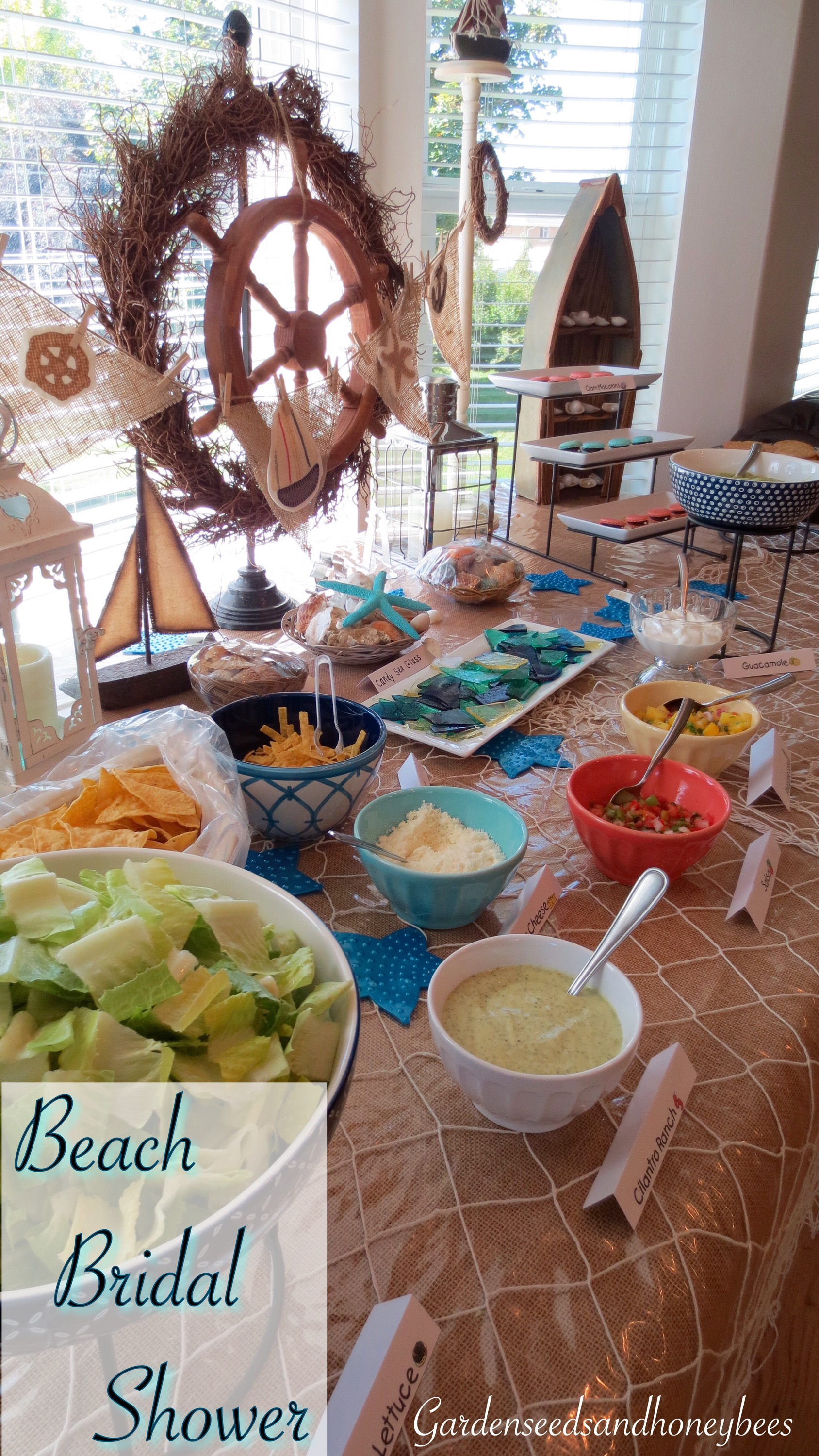 we had a great time at jamies family and friends bridal shower with this beach theme party games and sweet pork burritos and salad