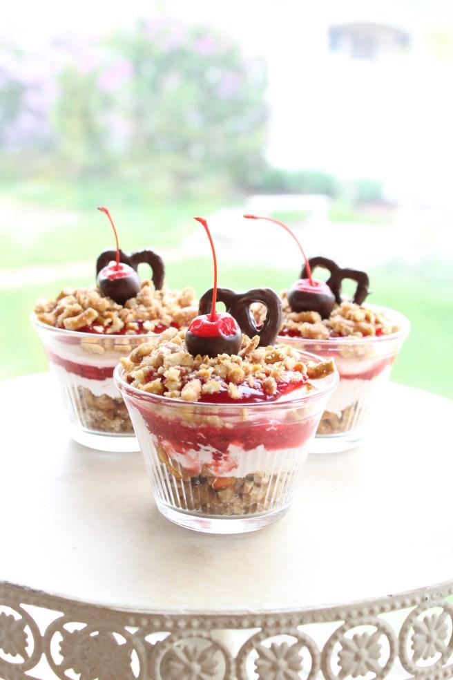 Cherry Pretzel Dessert Cups