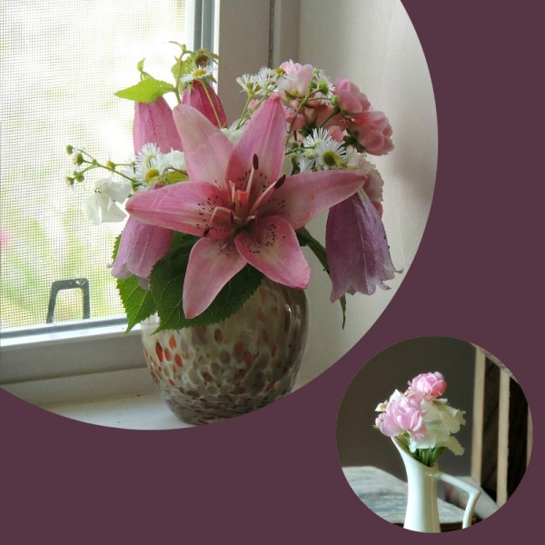 small pink vases