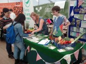 3rd October 2014: Spreading the word about our new campus garden and raking in the freshers