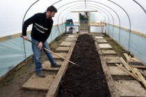 New rake and central planting bed in the polytunnel made from old wooden sleepers