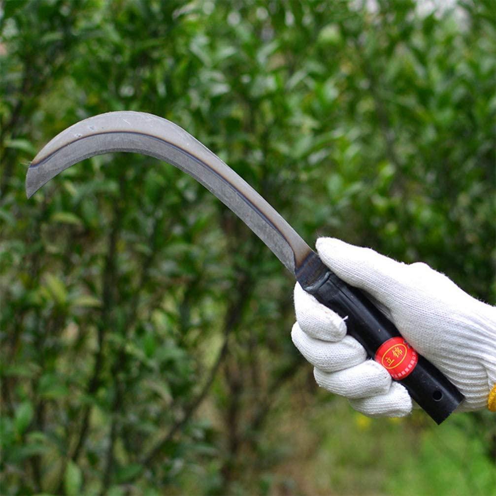 Yarnow Steel Grass Sickle Clearing Sickle Hand held Sickle Tool Garden Weeding Grass Sickle for Home Garden