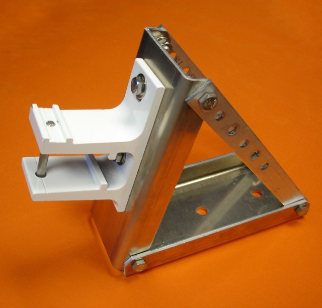 A wall mount bracket is seen attached to the roof mount bracket.
