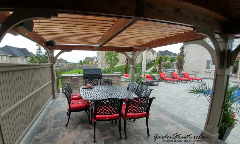 Dining room and outdoor kitchen - part of a cabana design