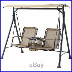 patio swing 2 person with canopy table outdoor furniture garden porch tan garden swings