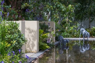 Dogs Trust: A Dog's Life Garden. Designed by: Paul Hervey-Brookes. Sponsored by: Dogs Trust. RHS Hampton Court Palace Flower Show 2016.