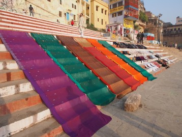 Drying saris on the banks of the Ganges River, Varanasi
