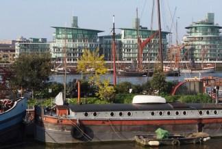 London barge gardens on the Thames, UK