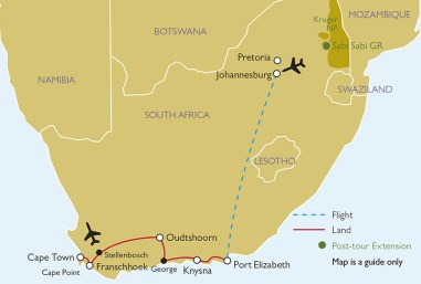Gardens of South Africa tour map