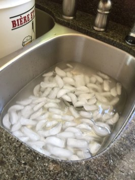 Fill sink with ice wate