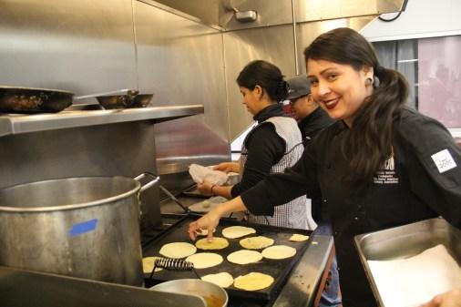 Claudia Serrato making tortillas. Photo by Elizabeth Hoover