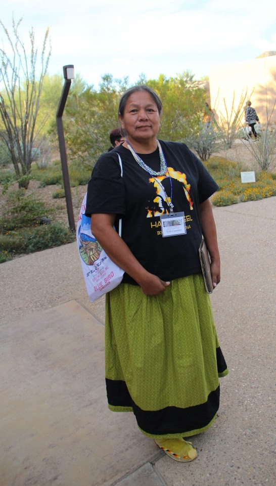 """Twila Cassadore, from the Western Apache Diet Project. Twila has been working with San Carlos Apache, White Mountain Apache, and Yavapi peoples for the past 25 years, conducting interviews with elders to bring information back into the community to address health and social problems. Twila described the importance of foods like grass seeds and acorn seeds to the diets of Apaches before people were moved onto reservations and became reliant on rations, and later, commodities. She highlighted, """"it took a community to do this. Not individual, not going to the grocery store and buying a bag of flour. You had to wait for the season for mother earth to offer to you."""" (Photo by Elizabeth Hoover)"""