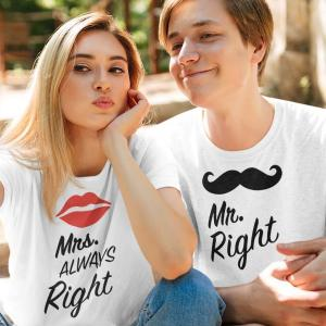Komplet za pare Mr right Mrs always right