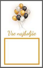 Voščilnica Vse najboljše zlati in črni baloni pokončna