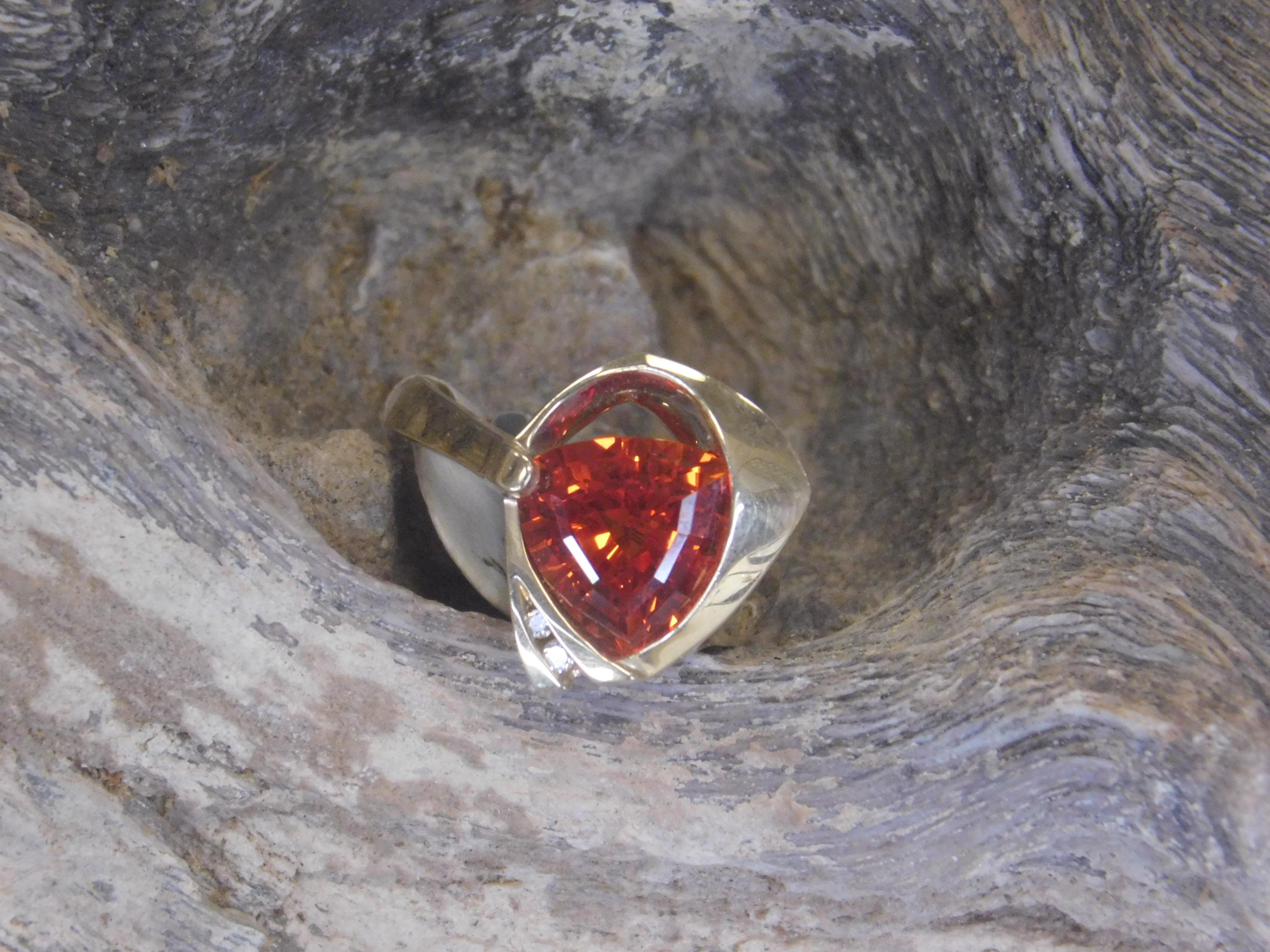 Gold Orange Sapphire Ring 2 Gardiner