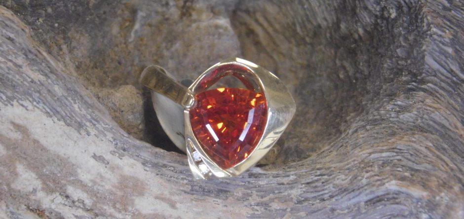 Gold Orange Sapphire Ring Gardiner