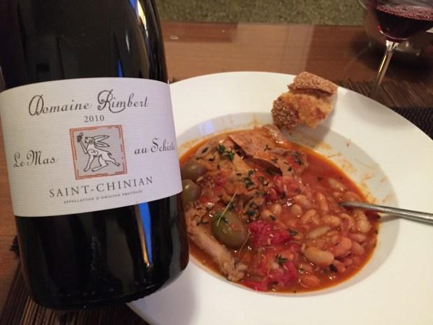 2010 Domaine Rimbert Mas Au Schiste and Provençal rabbit with garlicky beans.