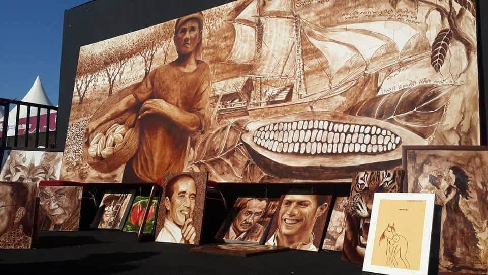 This painting,medium from cocoa powder,made for cocoa day in south sulawesi