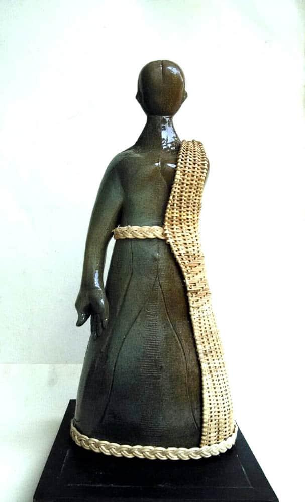 Tamal Bhattacharya, Monk (After), Cane & Ceramic, 48.26 x 22.86 x 15.24cm, photo: Arpita Bhattacharya, made in Baruipur, India