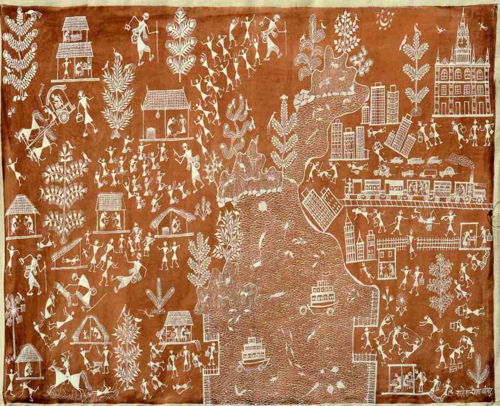 Rajesh Chaitya Vangad Maharashtra, Gandhi Katha 1 Warli Painting, 31x54cm