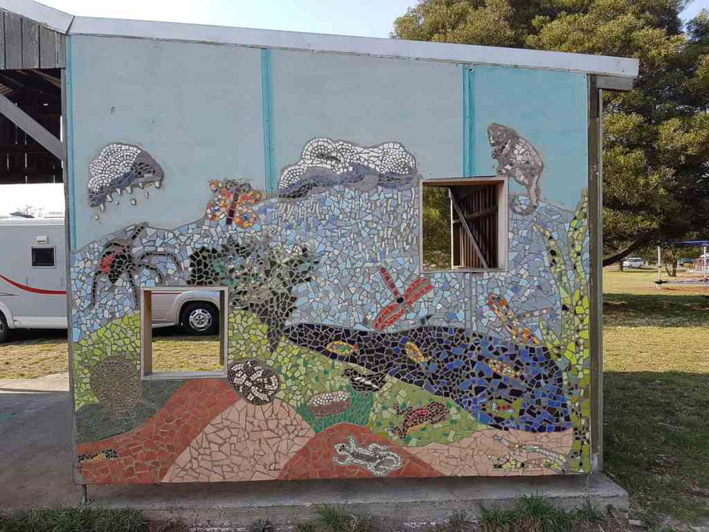 The outdoor classroom at Lagoon Farm with mosaics, in progress, made by members of the Dodges Ferry community working with Kerry Howlett 2017