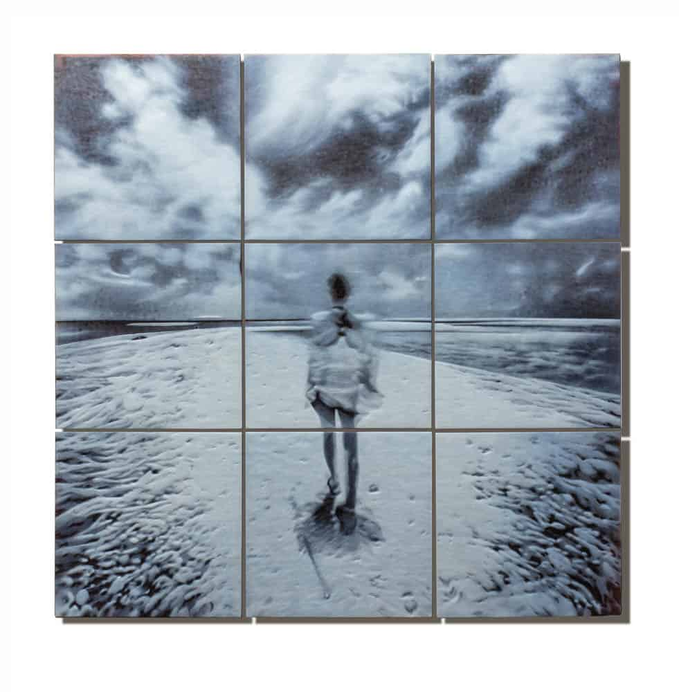 April Surgent, Ubiquitously. Sea and sky wrapped around me. The solitude here, 2017, cameo engraved glass, 25 × 25 × .75 inches