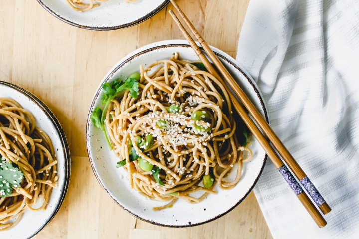 chinese noodles with chopsticks