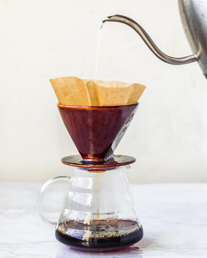 coffee made in a pourover with a gooseneck kettle
