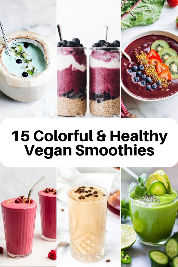 Start your day the delicious way with one of these 15 healthy smoothies! Full of nutritious ingredients and protein, these tasty drinks will keep you satisfied and hydrated. All plant-based and ready in minutes! The whole family will love these easy smoothies. #smoothie #breakfast #healthy #snack #lowsugar #healthysmoothie #drink #vegan #plantbased #colorful #shake #easyrecipe #easybreakfast #mealprep